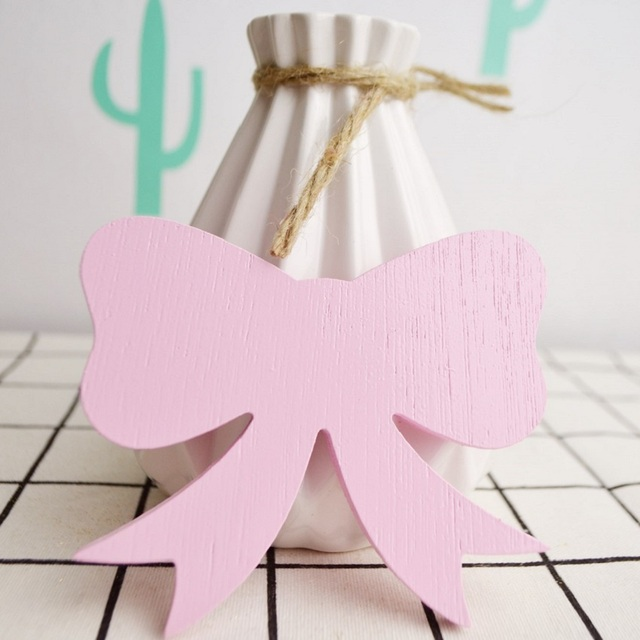 Lovely Pink Bow Wooden Hook For Kids Room Wall Decoration Eco Friendly Hanger