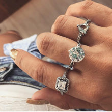 1 Set Zircon Is Classic Vintage Knuckle Rings for Women Boho Geometric Flower Crystal Ring Set Bohemian Finger Jewelry(China)