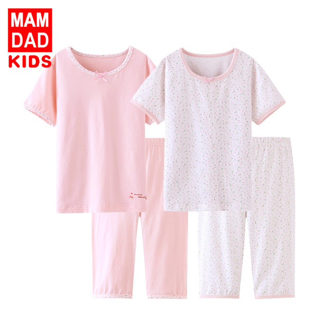13b84cbdd Children Summer Clothing Girls Casual Cotton Outfit Kids Pajamas ...