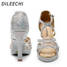 DILEECHI Latin Dance Shoes Women Silver GLITTER Rhinestone Salas Ballroom dancing Shoes width Heel 10cm Waltz with platform 15mm