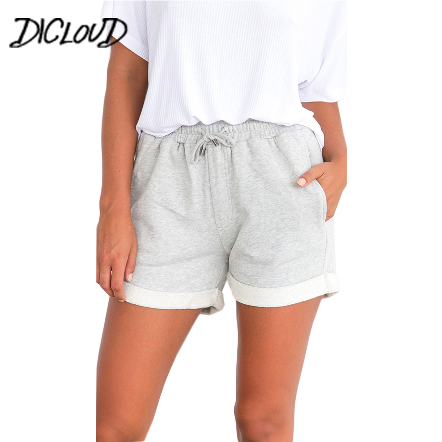DICLOUD Fashion Hem Casual Shorts Women 2018 Simple Loose High Waist Shorts Female Stretching Summer Hotpants Vacation Clothing