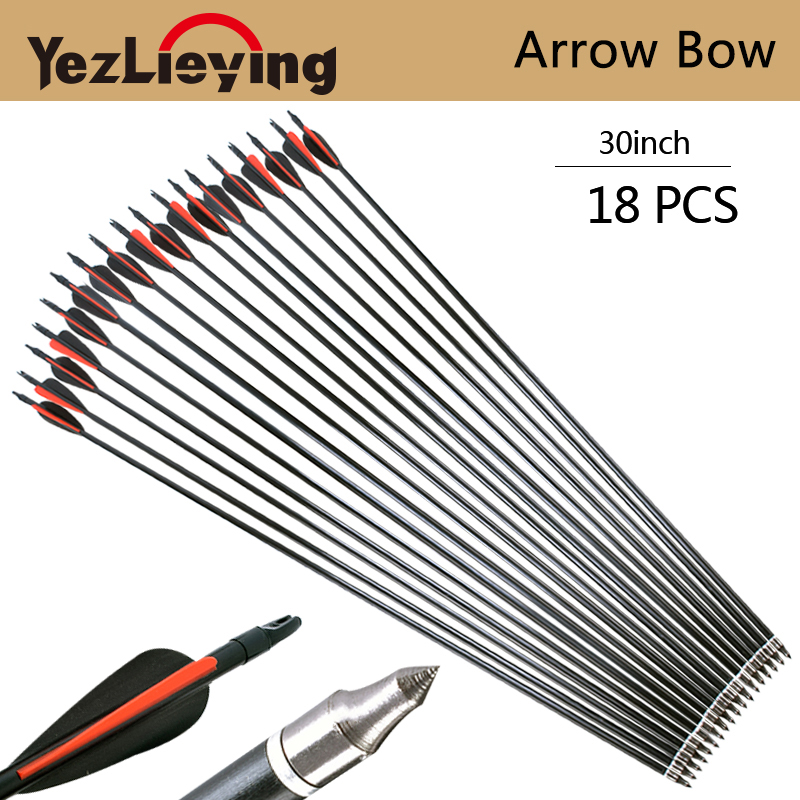 18pcs 30 inch glass arrows replaceable arrowhead Red and black feather hunting repetitive bow shooting target practice