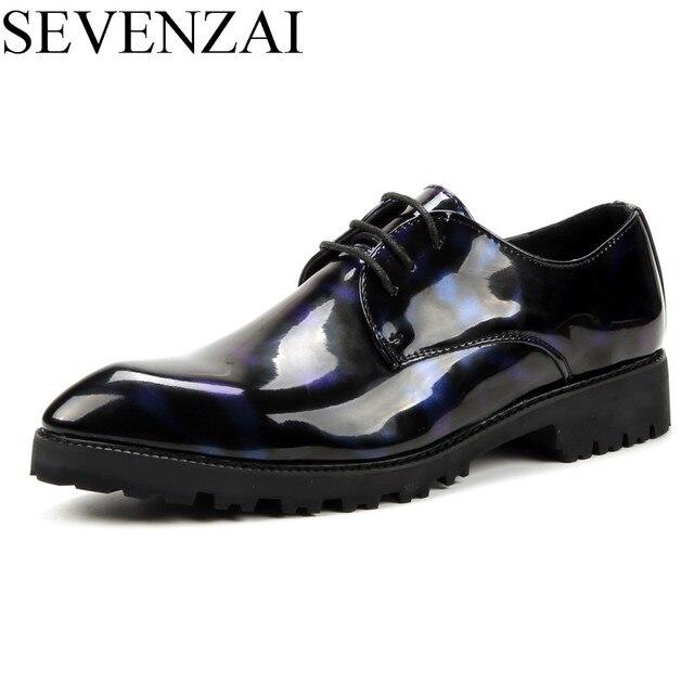 c17ef1f93b7 Глянцевая цветочный принт из лакированной кожи мужская обувь роскошные  новые фирменные повседневные мужской Прохладный итальянский платье
