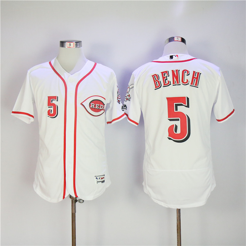 MLB Mens Cincinnati Reds Johnny Bench Jersey Majestic White Gray Flex Base Player Jersey ...
