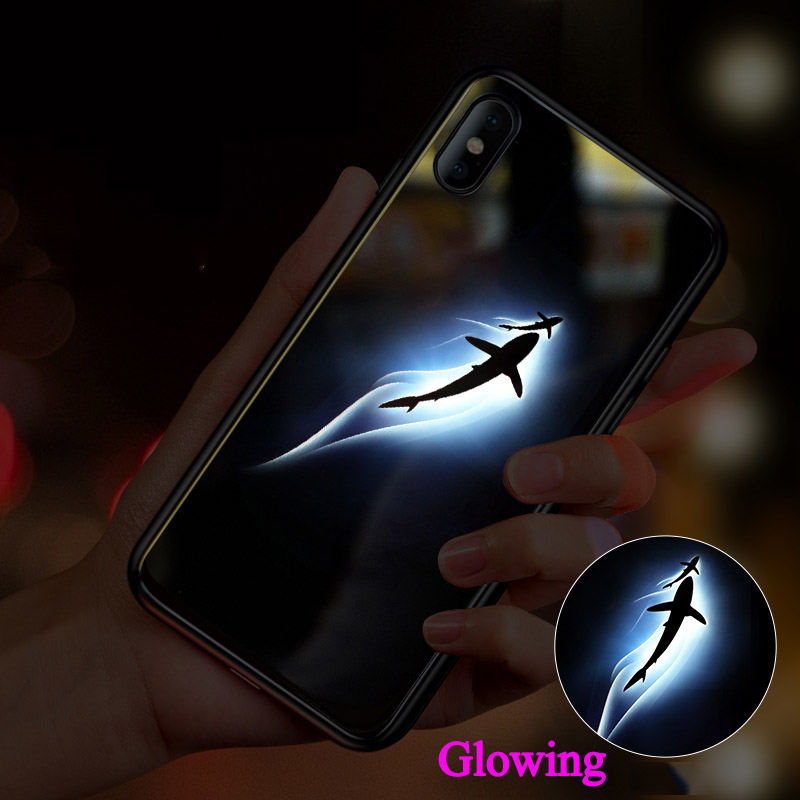 innovative design de1b6 d8c71 Have 3D Led LOGO Luminous Phone Case For iPhone XS MAX XR X 7 Plus Glass  Cover Glowing Flash For Apple iPhone XS Max 6S 7+ Shell