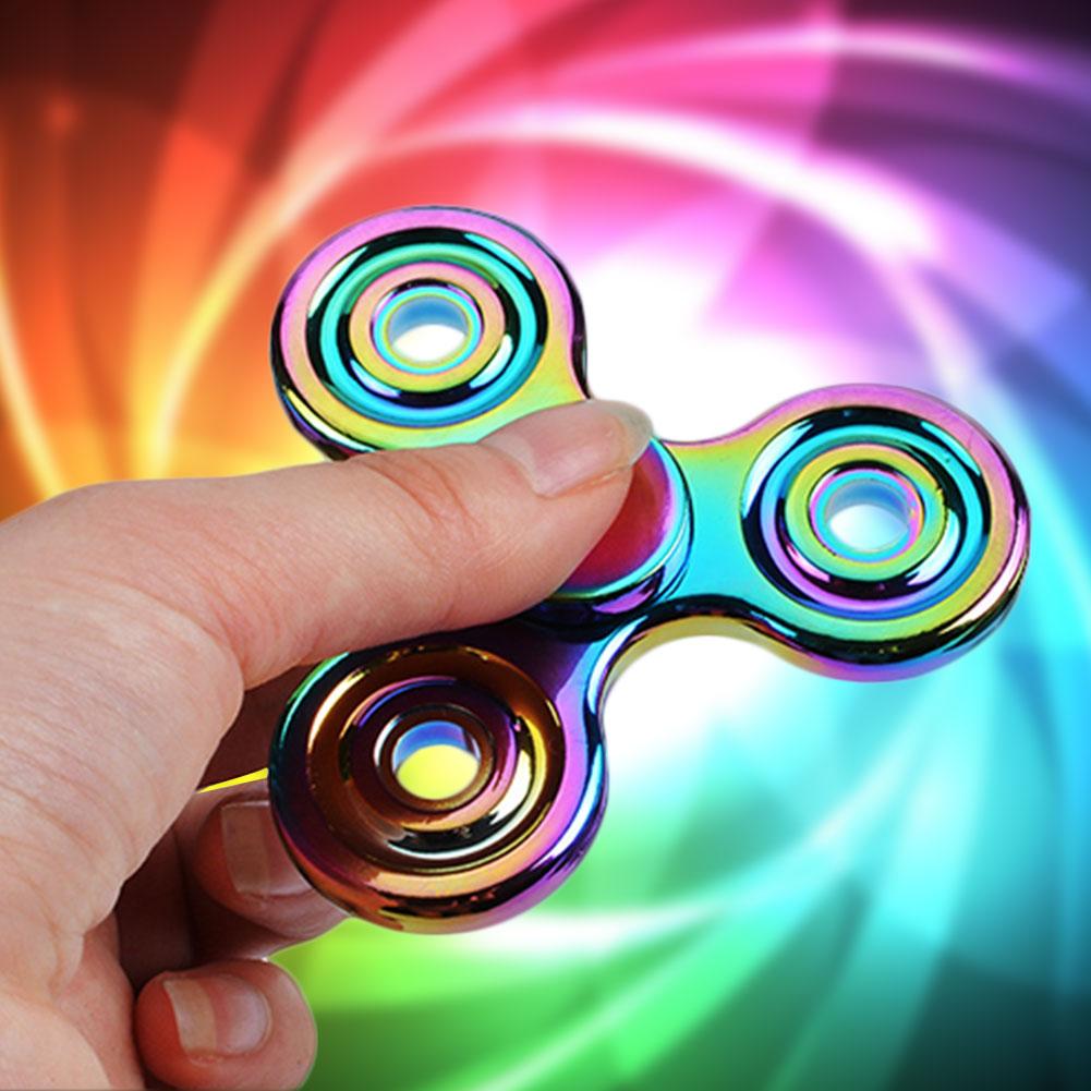 Rainbow Tri Fidget Spinner Hand Spinner Finger EDC Focus ADHD Anxiety Stress Fidget Toys pudcoco metal boys girls rainbow fidget hand finger spinner focus edc bearing stress toys kids adults