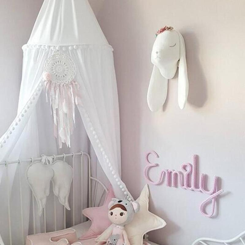 HOT Mosquito Bed Curtain Round Crib Tent Hung Dome Mosquito Net New ChildrenS Room Decorated Hair Ball Dome Nets A30