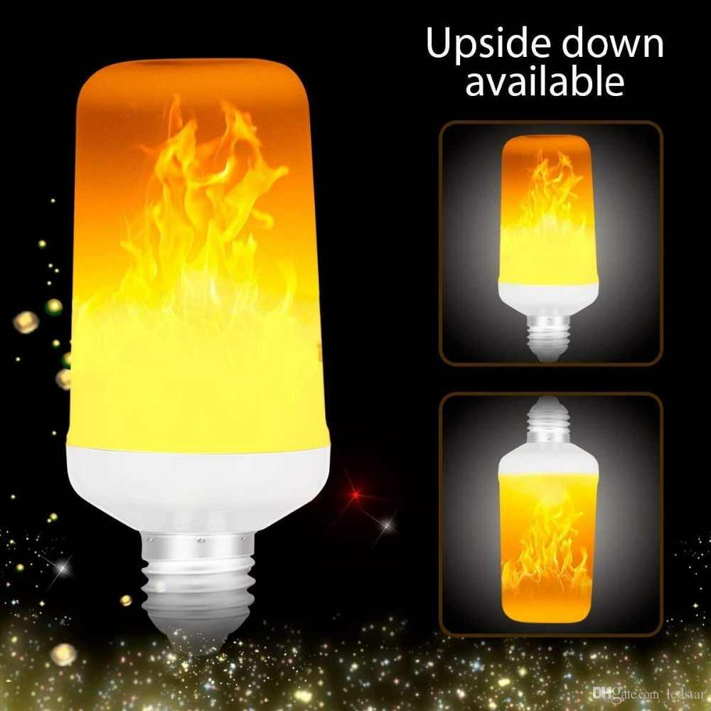 Creative 4 Modes+Gravity Sensor Flame Lights E27 2835 LED Flame Effect Fire Light Bulb Flickering Emulation Decor Lamp AC90-265V