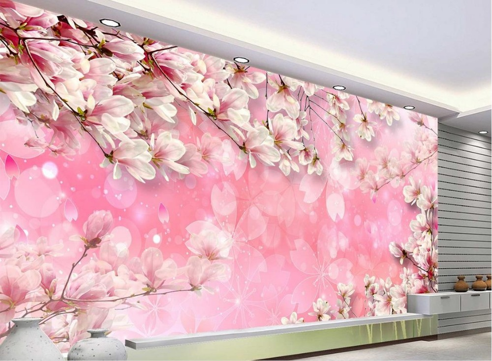 Pink Flower Wallpaper Mural 3d Wallpaper Flower 3d