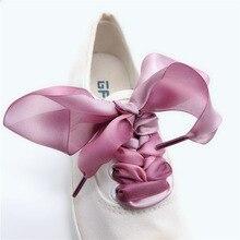 3 Colors 4 cm Width 80/100/120/140 Length Organza Shoelaces Beautiful Lace Widened Leisure princess