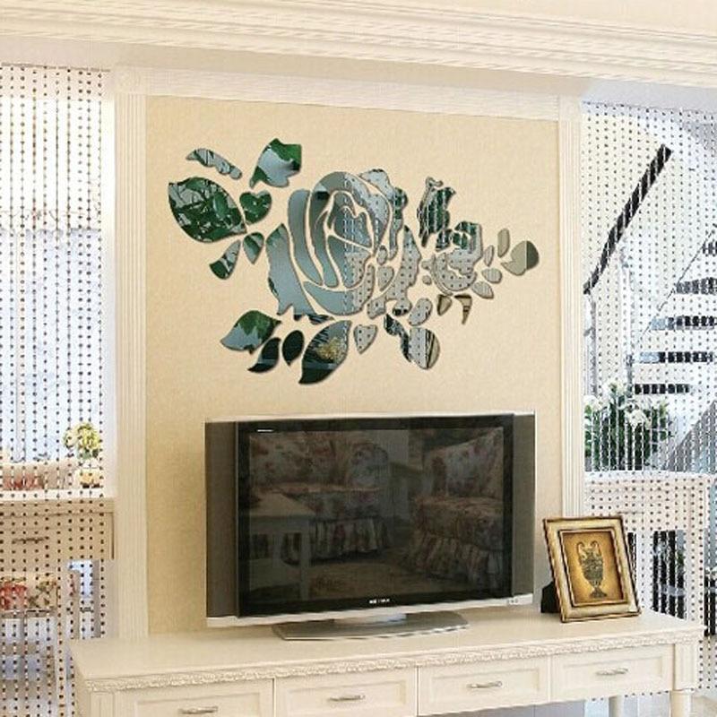 wall sticker 3d acrylic crystal mirror flower pattern home ...