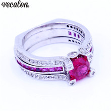Vecalon Мода пара Обручение кольцо красный 5A Циркон CZ белого золота Заполненные Обручальное кольцо комплект для мужчин и женщин камень ювелирные изделия