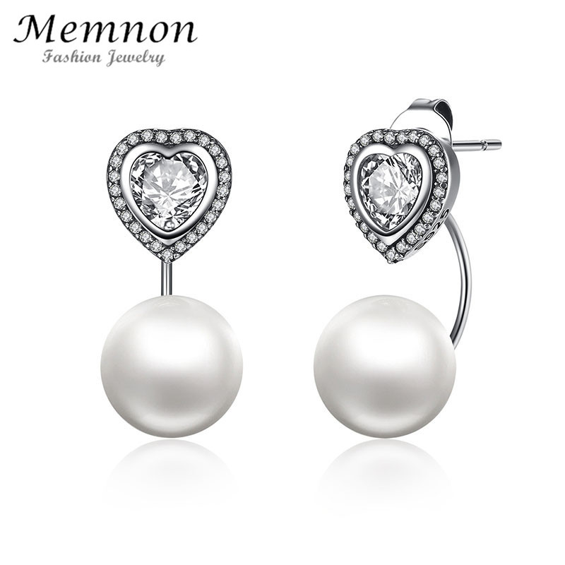 Memnon Fine Jewelry Authentic 925 Sterling Silver Heart and Pearls Female Drop Earrings Jewelry earring for women brinco ER003