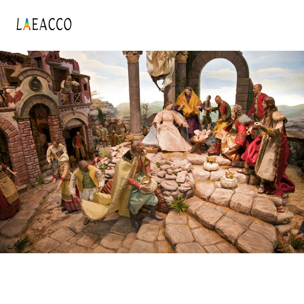 Laeacco Christian Christ Jesus Nativity Photography Backgrounds Vinyl Digital Customized Photographic Backdrops For Photo Studio