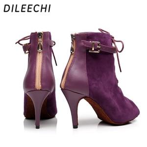 Image 5 - DILEECHI Brand womens Black Purple velvet Genuine leather Latin dance boots high heels Party Spot zipper on back shoes