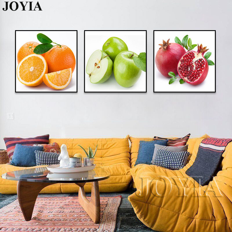 Us 6 16 45 Off Fruits Canvas Art Prints Kitchen Living Decor Wall Pictures Apple Orange Pomegranate Modern Fruit Paintings 3 Piece Set No Frame In