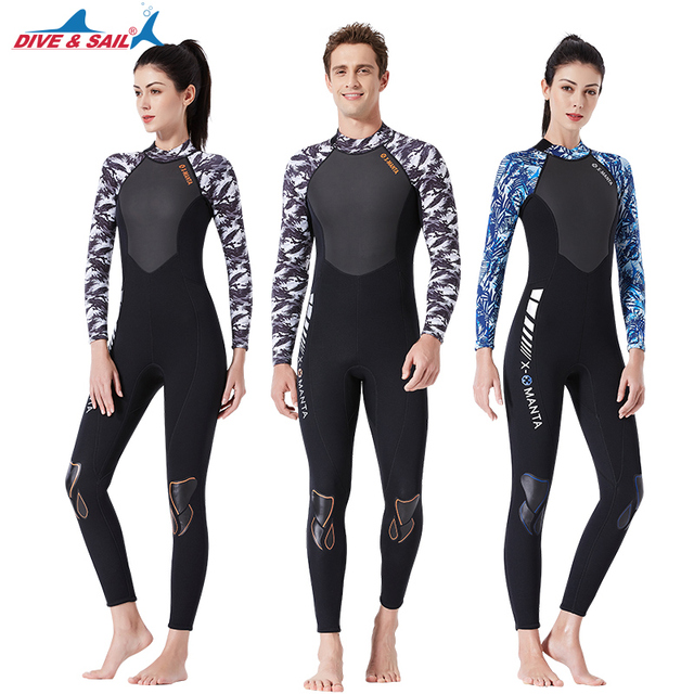 DIVE & SAIL 2019 1.5MM Neoprene Wetsuit Women Men Warm One Piece Wet suit for Scuba Diving Surfing WS-19483