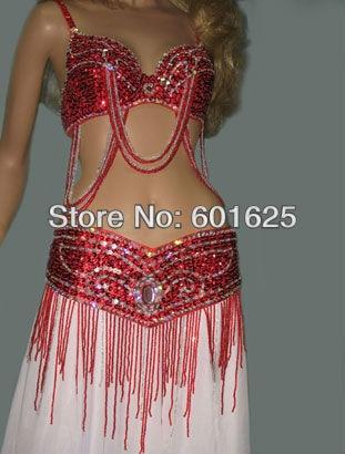 Mède pour mesurer nouvelle vente chaude costumes de danse du ventre ensemble SOUTIEN-GORGE (34DD) + ceinture 2 pièce L'ACHETER MAINTENANT ENVOYER GIFTE