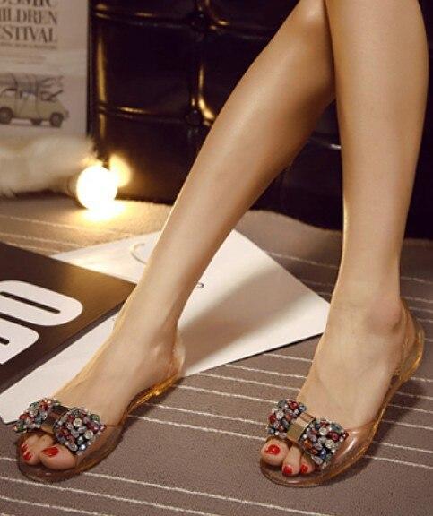 пляжные сандалии желе прозрачный кристалл