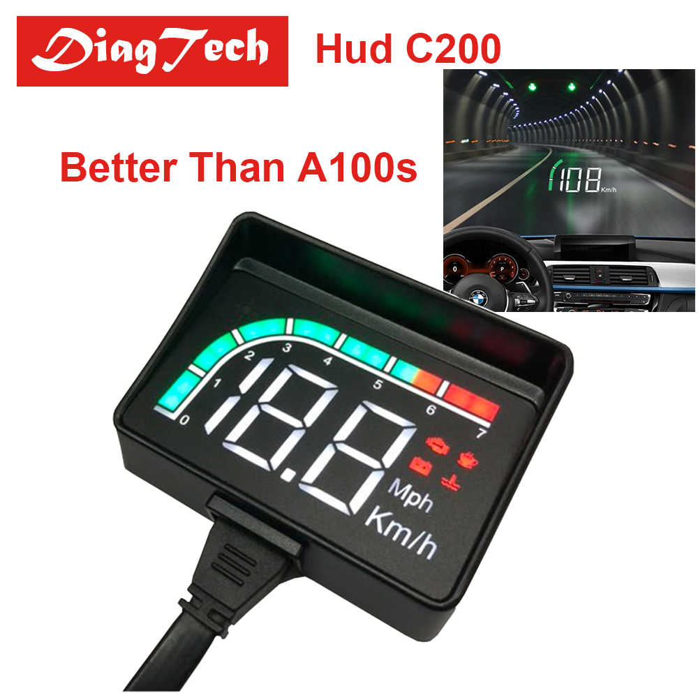 Nuevo ordenador HUD integrado C200 A100S Car Head Up Display Overspeed Warning System proyector alarma de voltaje para parabrisas