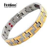 Hottime Factory Wholesale Fashion Jewelry Bracelet Bangle Bio Element Healing Stainless Steel Magnetic Men Bracelet 10101