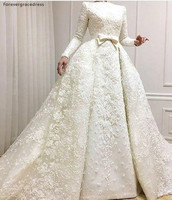 Muslim Wedding Dresses A Line Long Sleeves Appliqued Country Garden Formal Bride Bridal Gowns Plus Size Custom Made