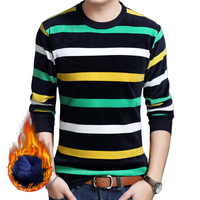 Spring Autumn Men S T Shirts Long Sleeve Thick Warm With Fur Inside Knitted O Neck