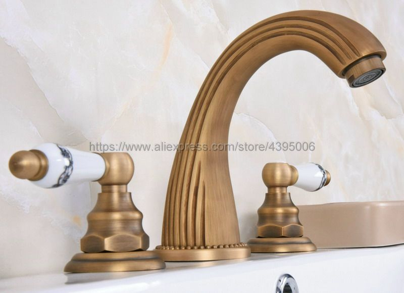 "New 8 Roman Widespread Lavatory Bathroom Sink Faucet Oil: Antique Brass 8"" Widespread Bathroom Basin Sink Faucet"