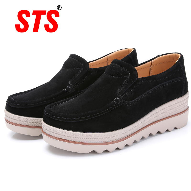 STS BRAND Spring Women Flats Shoes Loafers Platform Sneakers   Leather     Suede   Casual Shoes Slip On Flats Heels Creepers Moccasins