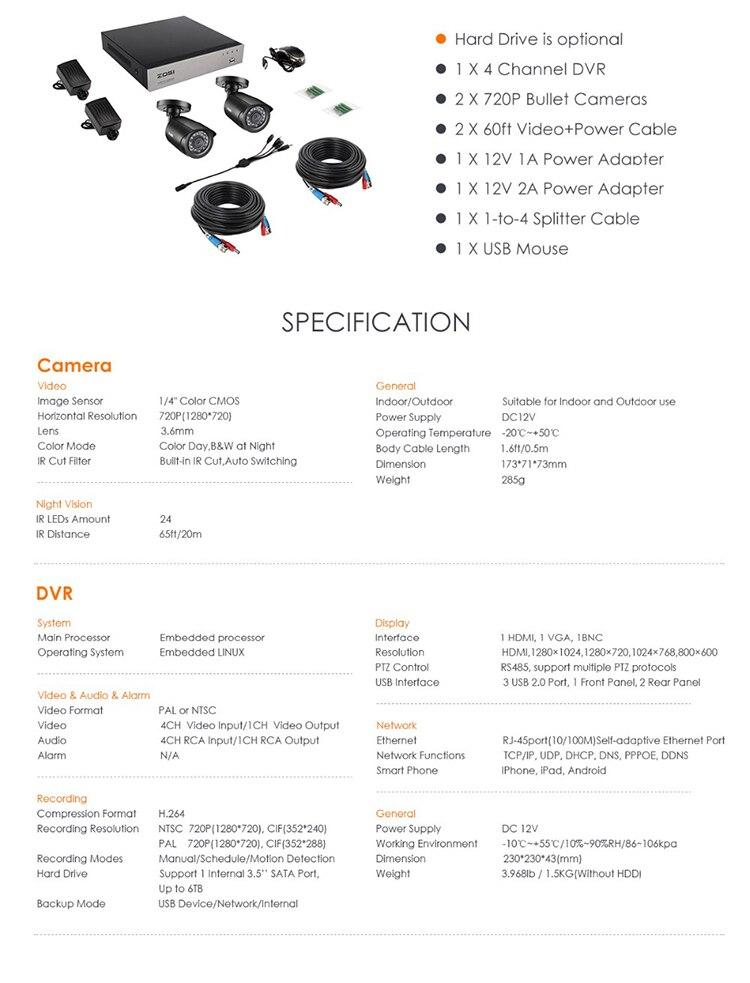 HTB1Ajr6asvrK1Rjy0Feq6ATmVXaq ZOSI 4CH/8CH DVR CCTV System with 2CH 2PCS 1.0 MP IR Outdoor Security Cameras 720P HDMI CCTV DVR 1280TVL Video Surveillance Kit