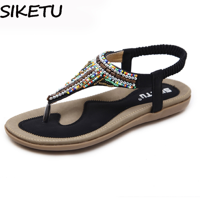 SIKETU Women Bohemia Ethnic Gypsy String Bead Flat Sandals Flip Flops Woman  Casual Summer Beach Shoes Wedge Heel Plus Size 35-42 548a92a7d767