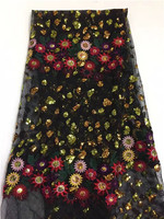 Charming party African tulle lace fabric embroidery French net lace cloth with sequins for sexy dress HXN8(5yards/lot)