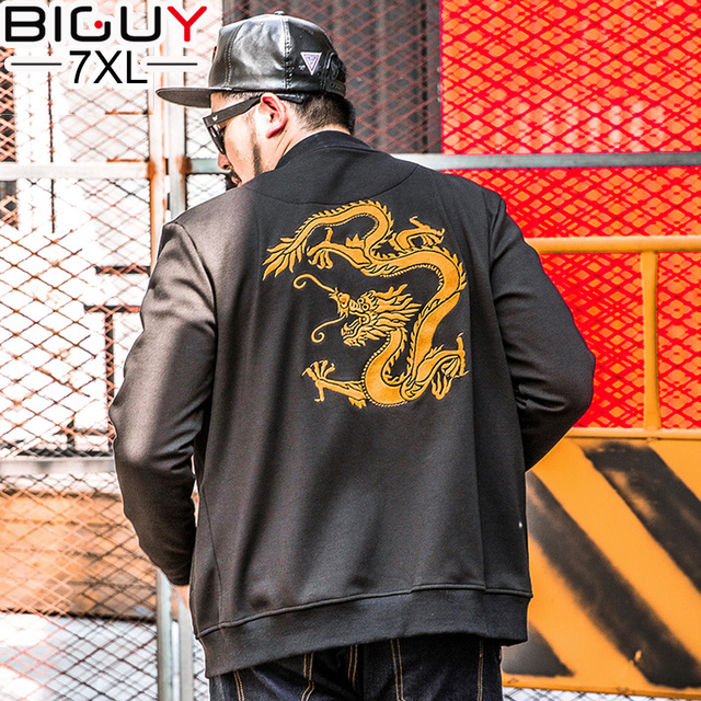 Big Guy Chinese Dragon Embroidery Black Baseball Jackets Men 2017 Mens Spring Jacket Plus Size 5XL 6XL 7XL Male Clthing 1540