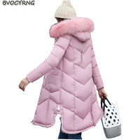 New Winter Women Eiderdown Cotton Long Style Jacket Coat Heavy Hair Collar Thickening Outerwear Big yards Femaie Warm Parka Q5
