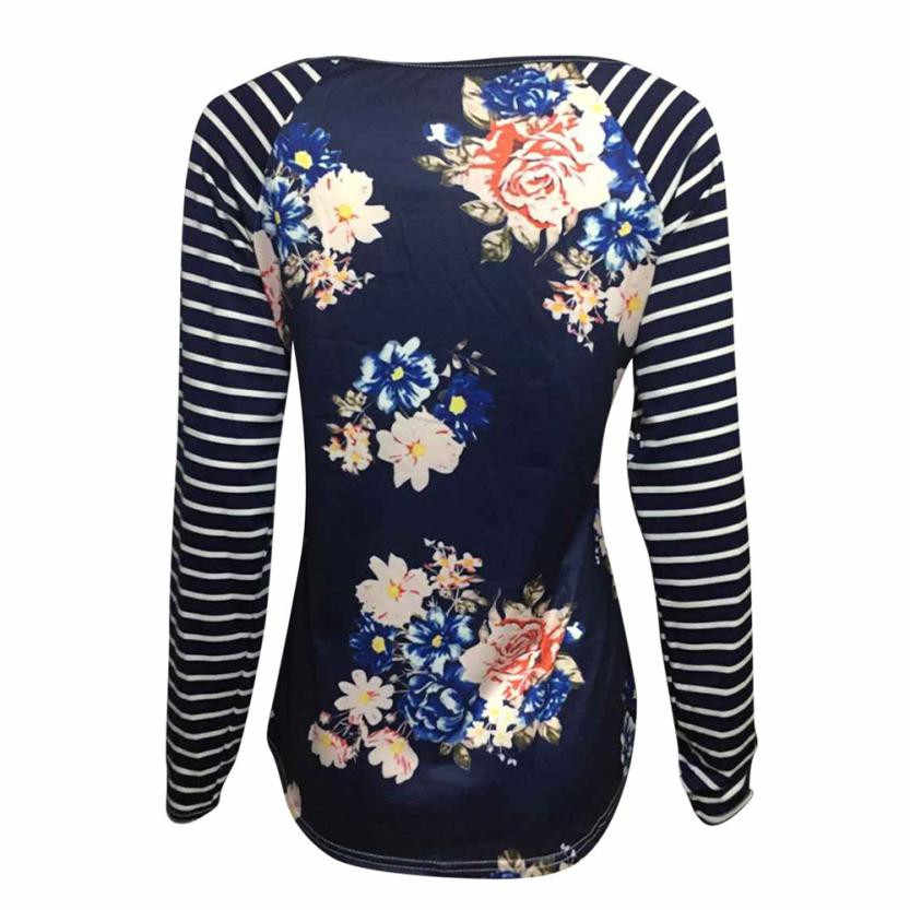0db34cc3a9 Ladies Floral Printed Shirts For Women Crewneck Long Sleeve Striped  Patchwork T-Shirt Girls Women's Spring Harajuku Tops #LH