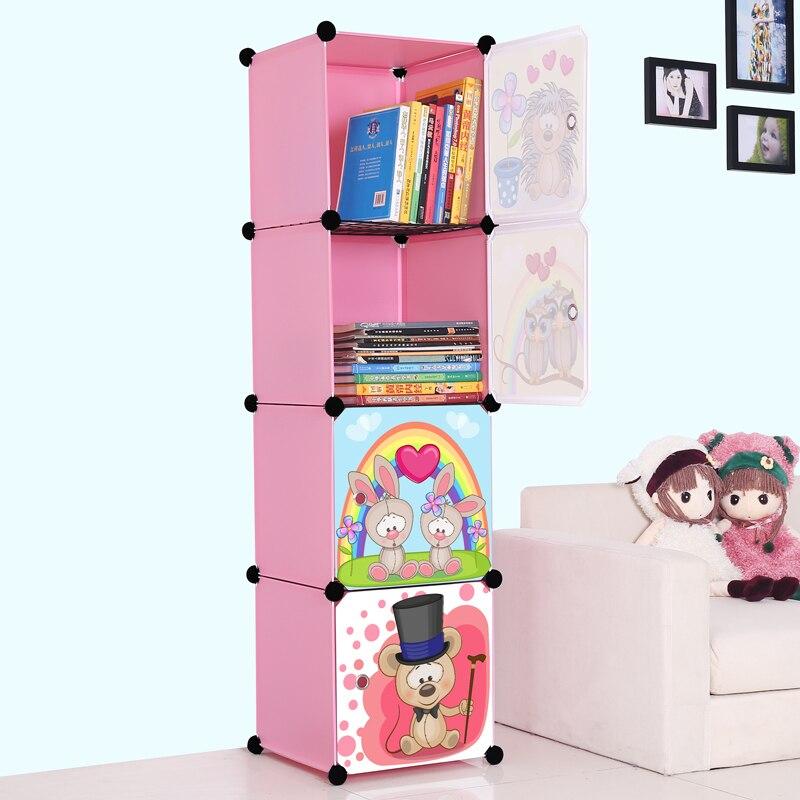 Carton Pink Simple shelf for children's bookcase modern simple and easy combination door plastic storage cabinet creative картридж hp c8771he 177 голубой psm8253