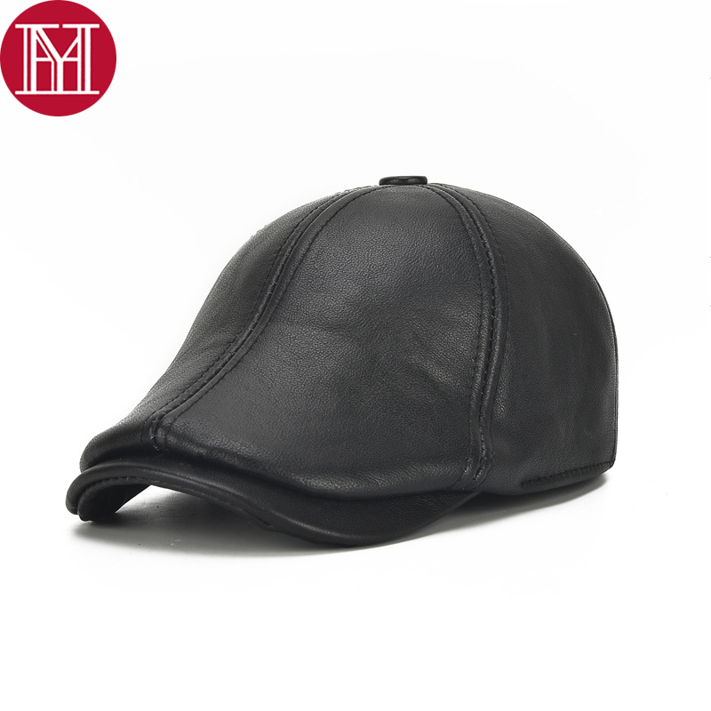 Hats Visors-Caps Fall Winter Male New Casual Men Genuine-Cowhide 100%Real