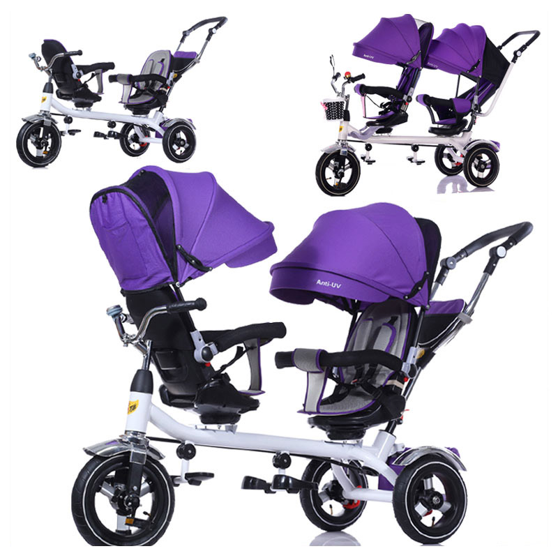 Children Tricycle Bicycle Twins Baby Stroller Double Three Wheels Stroller Swivel Seat Pram Pushchair Changing Sunshade Bicycle цена