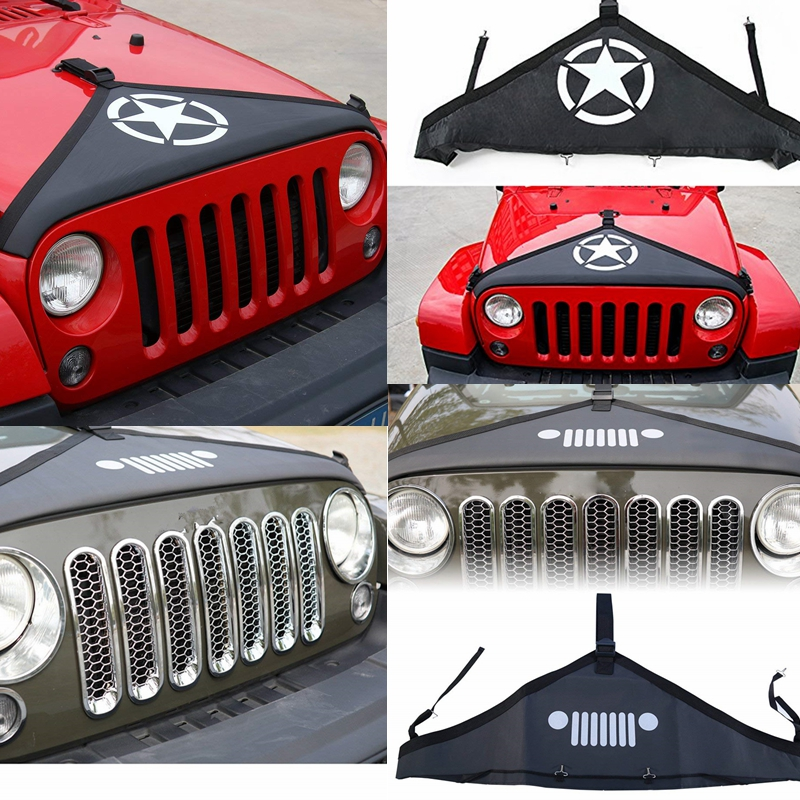 T-Style Hood Cover Front End Bra Durable Protector Kit for 2007-15 Jeep Wrangler 1T