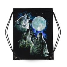 Full Moon and Wolf Drawstring Bag 100% Cotton legend Drawstring Backpacks for Clothes Shoes bags Mutifunction Backbags E56
