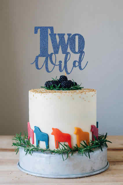 Two Wild Cake Topper Glod Glitter 2nd Birthday Party Decorations Supplies