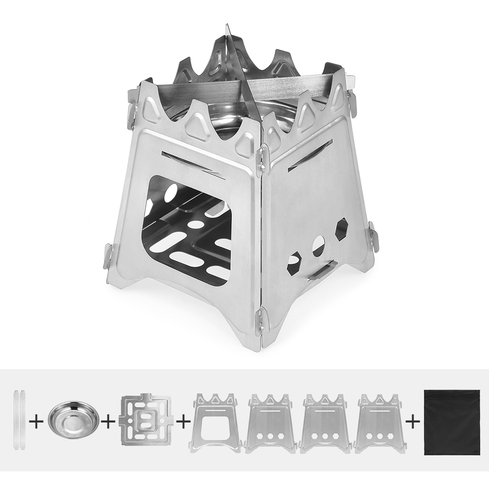 Image 3 - Outdoor Camping Stove Portable Folding Backpacking Wood Stove with Alcohol Tray for Camping Fishing Hiking-in Outdoor Stoves from Sports & Entertainment