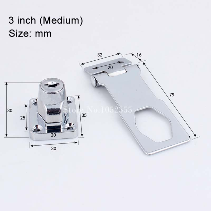 High Quality 5PCS Cabinet Boxes Lock Closet Door Chrome Plated Metal Keyed Hasp Lock 2 5 quot 3 quot 4 quot Long Key K35 in Locks from Home Improvement