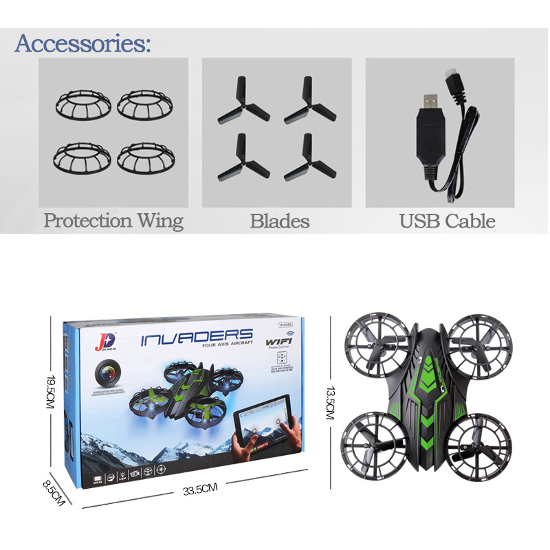 Original 2.4GHz Mini Rc Drone WIFI HD Helicopter FPV 0.3 MP Camera JXD 515W Light Led Propeller Up And Down Quadcopter Dron Toys