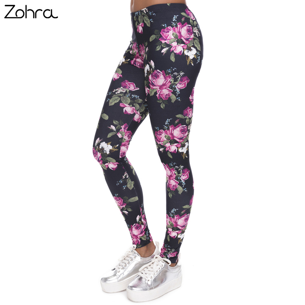 Zohra New Women   Leggings   Retro Roses Printing Fitness   legging   Elegant Sexy Elasticity Leggins High Waist Legins Trouser Pants