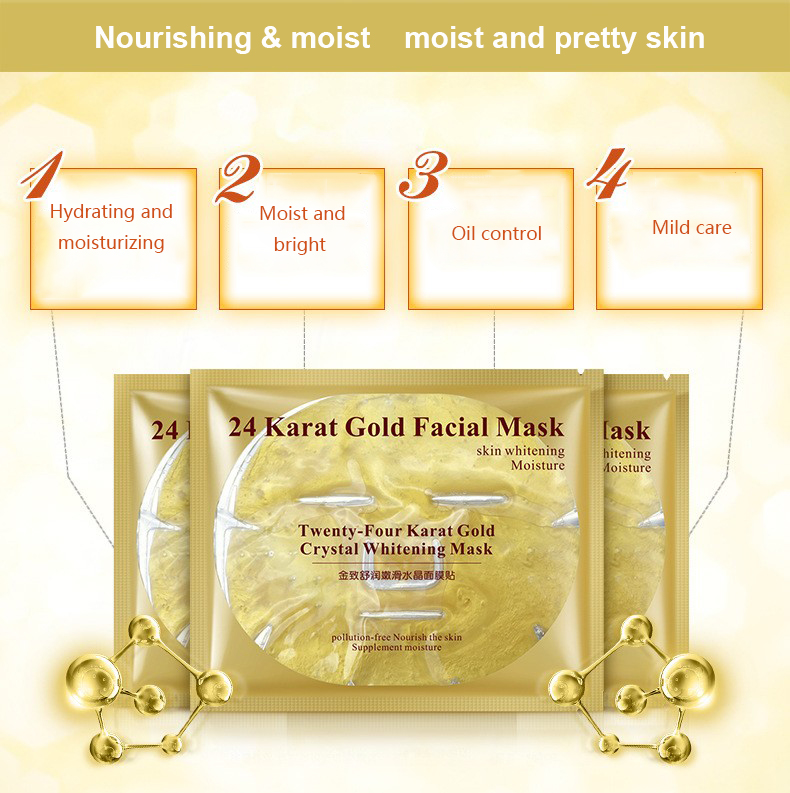 5pcs Bioaqua 24K Gold Mask Crystal Collagen Powder Face Mask No Wash Korean Face Masks Moisturizing Anti-aging Facial Skin Care 4