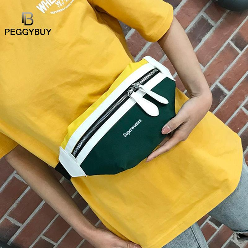 Women Waist Fanny Belt Packs Female Casual Zipper Canvas Chest Bags Teen Girls Fashion Hit Color Sports Shoulder Crossbody Bags