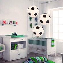 Lámparas colgantes con bolas de cristal Led de globo de fútbol moderno, lámparas colgantes deportivas para habitación de niños, dormitorio, decoración de iluminación interior