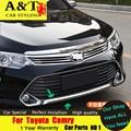 A & T Para Toyota Camry 2015 Bumper acabamento cromado estilo do carro Especial Do Carro de alta qualidade ABS Para Camry amortecedor Dianteiro adesivos guarnição