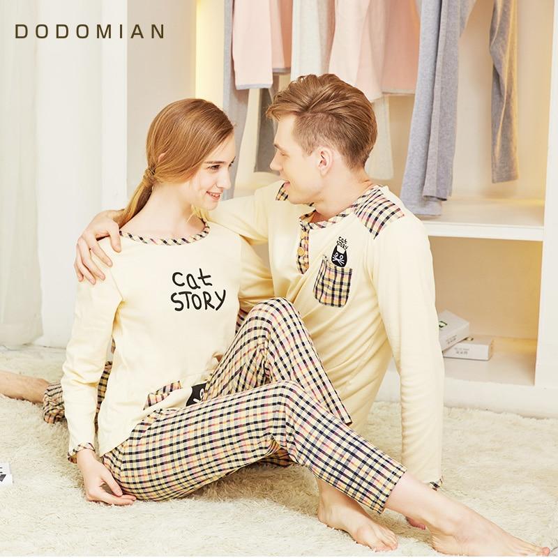 DO DO MIAN Sleepwear Suit For Lovers Cotton Plaid Pijama Set Couple Pyjama Suit Spring Home Clothing Set T shirt+Pants Счастье